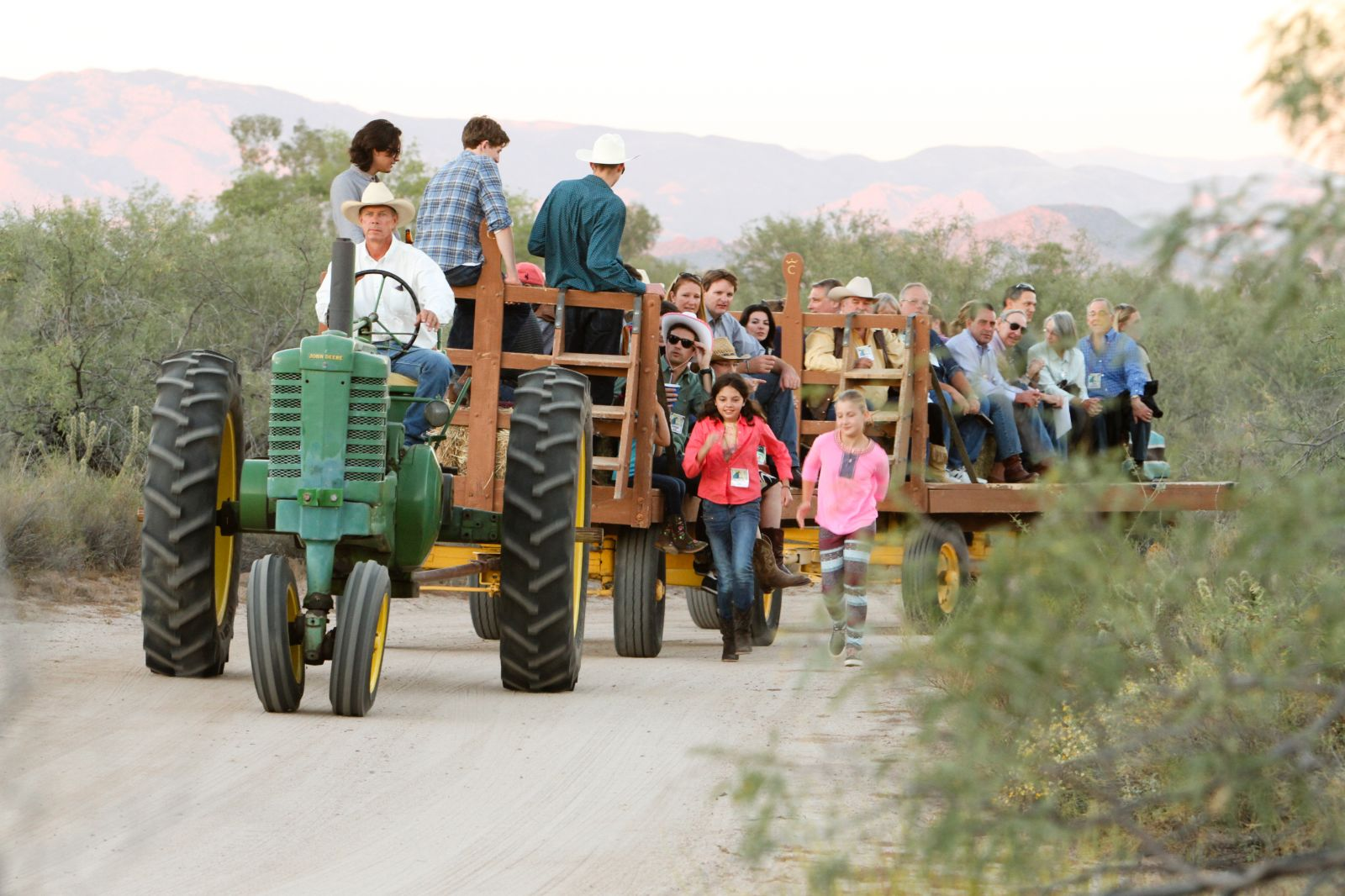 Tractor pulling group of resort guests to our cookout venue at Rancho de los Caballeros