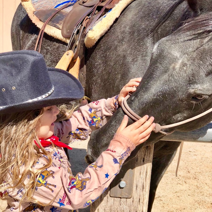 Girl and horse at Dude Ranch horsemanship clinic